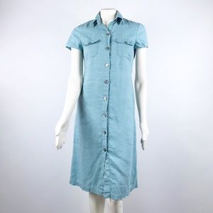 Boden | Blue Button down Short Sleeve Shirtdress 8